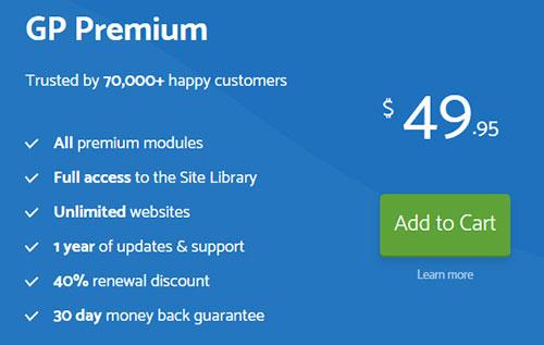 Buy GeneratePress premium plan.