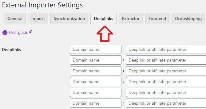 External Importer deeplinks settings.